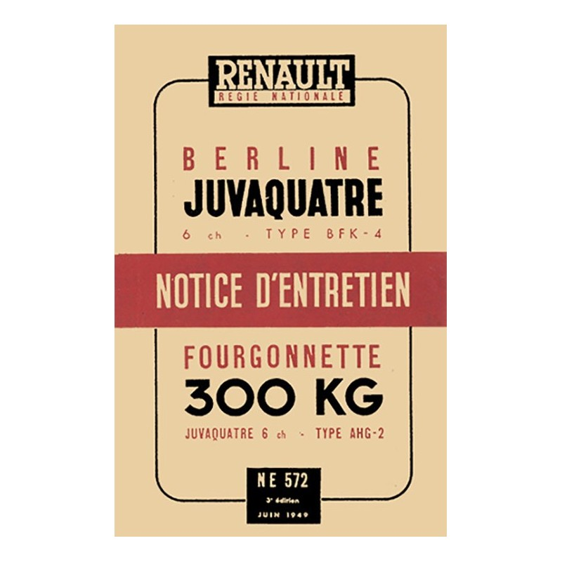 Notice d' Entretien  1949