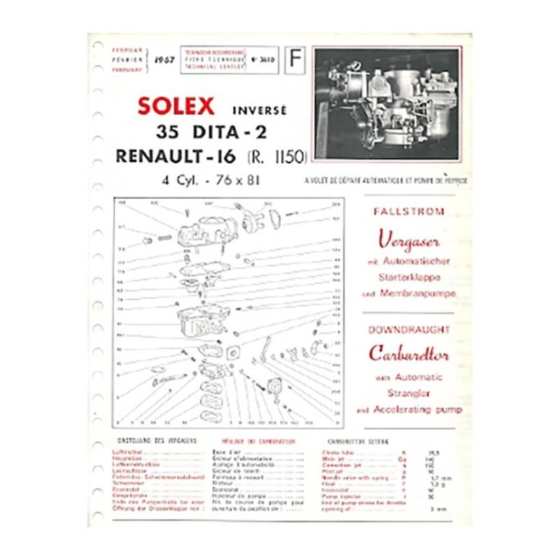 Fiche Technique Solex 35 DITA2