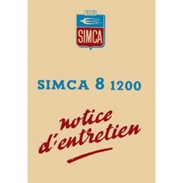 Notice d' Entretien Simca 8 1200
