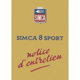 Notice d' Entretien Simca 8 Sport