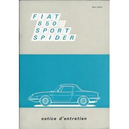 Notice d' Entretien Spider 1968