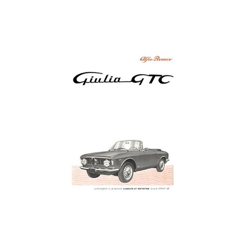 Notice Entretien GTC 1965 GIULIA De Alfa Roméo